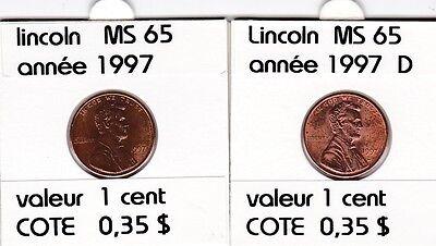 2 pieces 1 cent  lincoln 1997   D/P   voir description