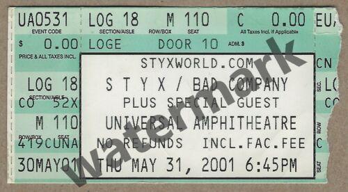 Styx Bad Company Concert Ticket Stub 2001 Universal Amphitheatre Shaw Rodgers