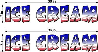 Pair Of 7 X 36 Vinyl Decals Ice Cream Red White Blue Flag Style Truck Cart