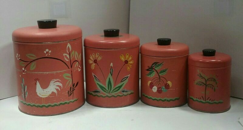 Vintage Ransburg 4 Canisters w/ Lids Hand Painted Pinkish Orange Color