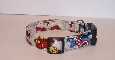 Wet Nose Designs Avengers Ironman & Capt America Dog Collar Marvel Superhero  - Superhero Dog Collars