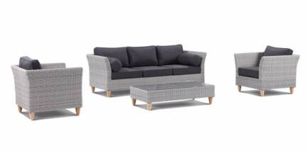 Outdoor 3+1+1+ Coffee Table & Arm Chair Wicker Cane Lounge Grey