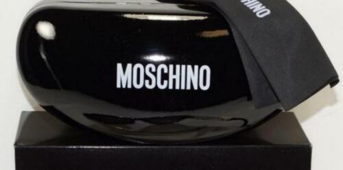 NEW AUTH MOSCHINO SHINY BLACK HARD SUNGLASSES CASE W/CLEANING CLOTH