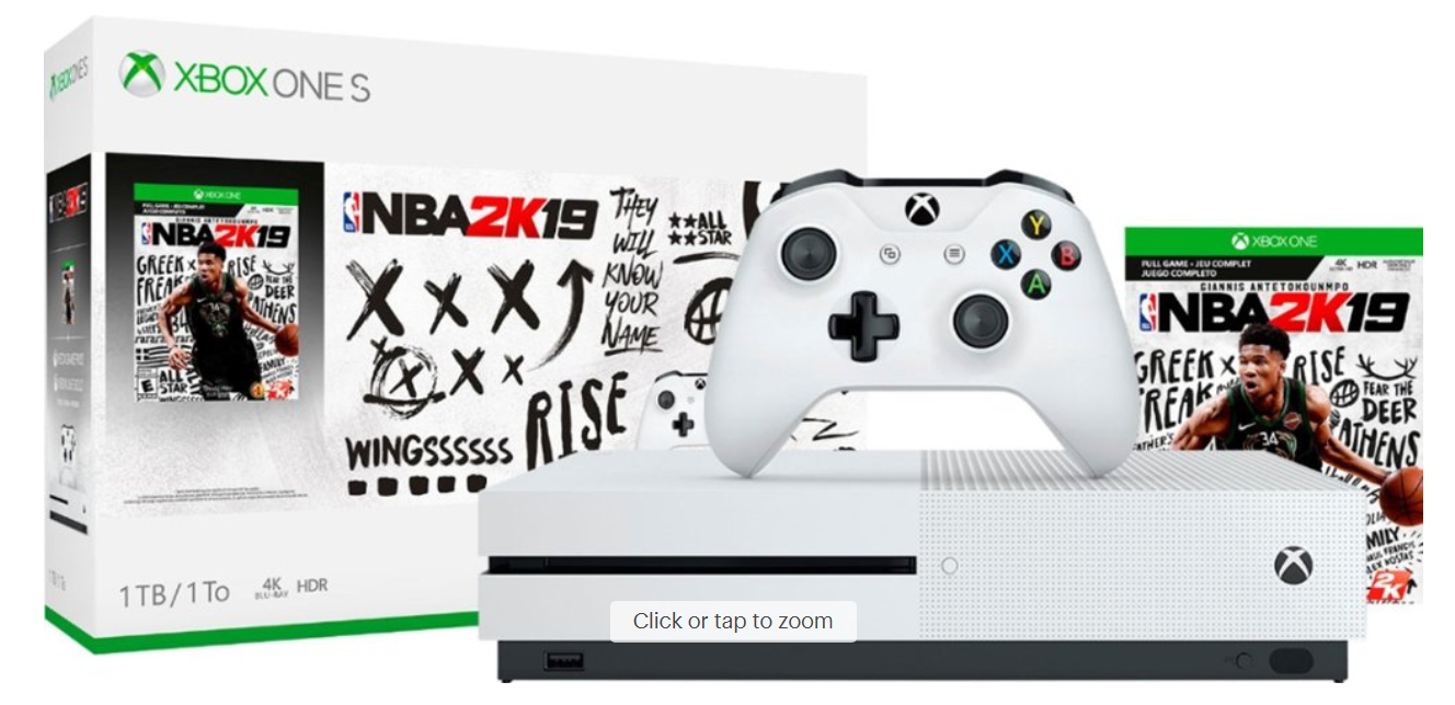 Microsoft - Xbox One S 1TB NBA 2K19 Bundle with 4K Ultra HD Blu-ray - White