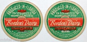 Vintage milk bottle caps BORDENS DAIRY Vitamin D Milk Produced in Florida exc++