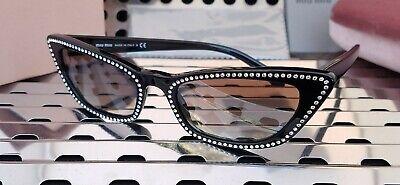 New Miu Miu Sunglasses MU 10US Gloss Black + crystals w/ Gray Gradient Lenses