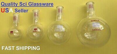 New Set Of 4 Glass Flasks Round Bottom Chem Lab Distillation 100250500 1000ml