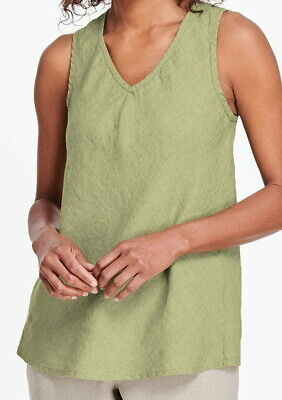 FLAX Designs  Linen  BIAS VEE  Tank  2G  &  3G    NWT  Neutral Two WASABI Bias Tank
