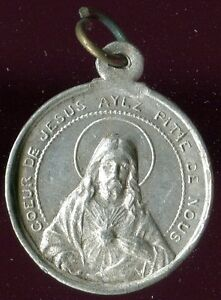 OLD ALUMINUM MEDAL OF HEART OF JESUS AND OUR LADY OF GRACE OVERFACE - France - OLD ALUMINUM MEDAL OF HEART OF JESUS AND OUR LADY OF GRACE OVERFACE 0.90 INCH WITHOUT THE BAIL YOU CAN BUY ONE OR MANY CARDS OR POSTCARDS SHIPPING IS THE SAME - France