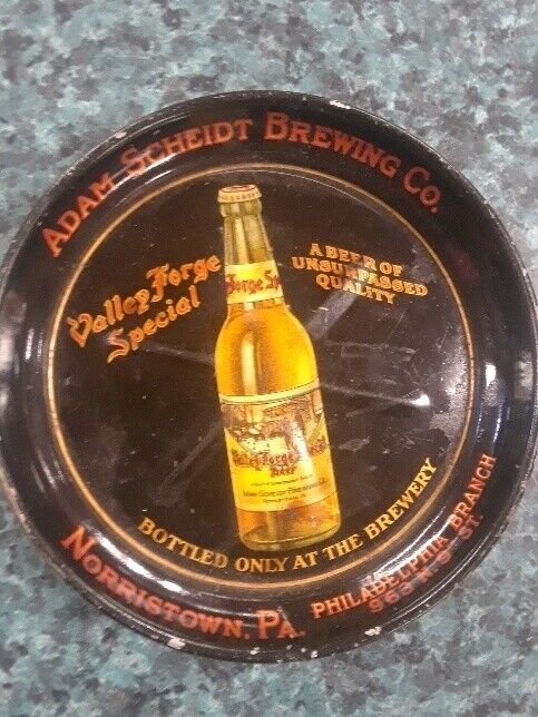 VTG ADAM SCHEIDT BREWING CO VALLEY FORGE BEER TIP TRAY NORRISTOWN PA