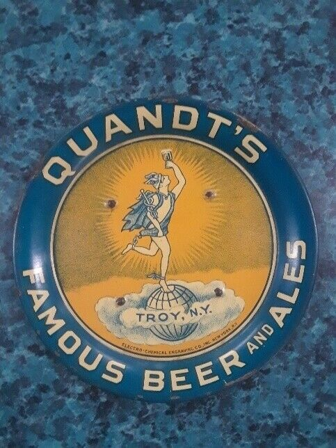 VTG QUANDTS BEER + ALE TROY N.Y. ADVERTISING TIP TRAY