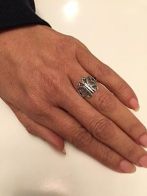 - .925 Sterling Silver Filigree Butterfly Ring J 56
