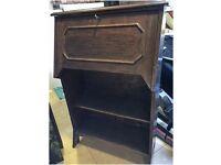 Oak bureau, with locking fold down desk