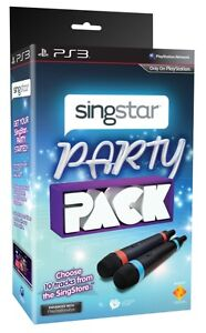 Singstar Party Pack with 2 x Genuine Sony PS3 Wireless Microphones 100%Brand New
