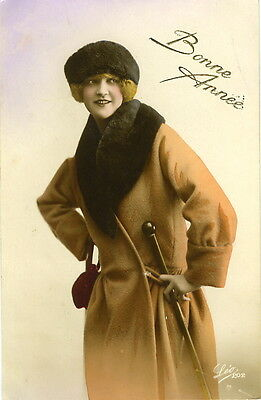 1920's Vintage French Deco WINTER FASHION FLAPPER tinted photo postcard ()