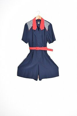 vintage 80s romper navy red nautical sailor playsuit one piece outfit shorts L