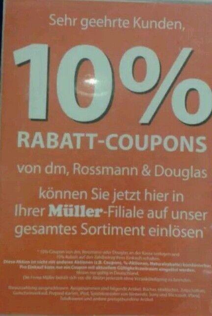 6 Stück 10 % Rossmann Coupons Gutscheine ggf. für DM, Müller, bis 28.02.2018