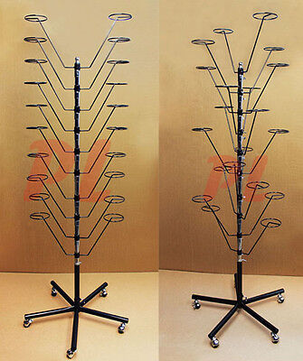 10 Layers Revolving 20 Hat Floor Rack Retail Display Rotating Coat Hanger Black