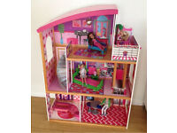 Lovely Dolls House with Furniture, Lift and Spiral Staircase and Dolls