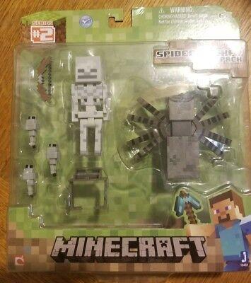 Minecraft Spider Jockey Skull Figure Toy Boy Collection Pixel