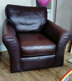 Brown M&S leather chair