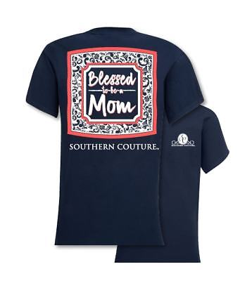 Southern Couture Women's T-Shirt - Blessed to be a Mom - Navy - S, M, L, XL ()