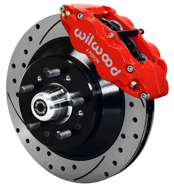 """Wilwood Disc Brake Kit,front,64-74 Gm,13"""" Drilled 1 Piece Rotors,6 Piston Red"""