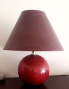 Vintage 1980's Ball Shaped Table Lamp in Deep Coral