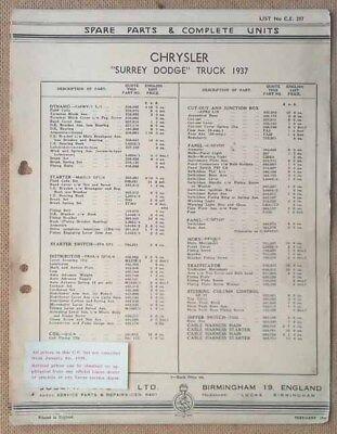 "Chrysler ""Surrey Dodge"" Truck 1937  Lucas Parts List 297  Others available"