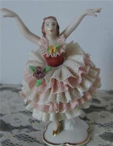Gerold & Co. Tettau Bavaria Dresden lace figurine---- pink