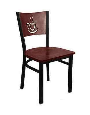 Black Metal Frame Restaurant Chair Mahogany Wood Back Coffee Design