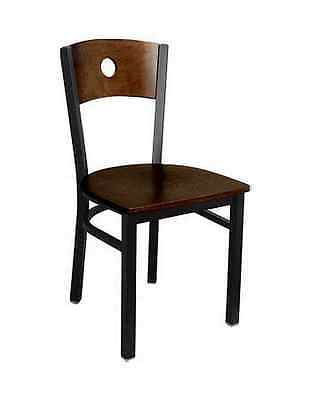 Metal Restaurant Chair Black Frame And Circle Design Walnut Wood Back Seat