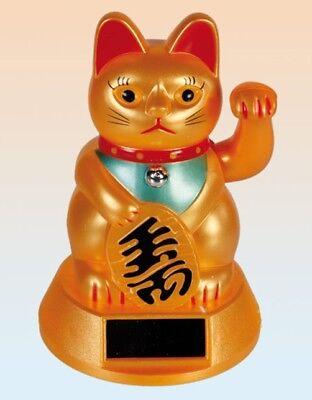 Maneki Neko Solar Winkekatze 12 cm gold Glücksbringer winkende Katze Talismann