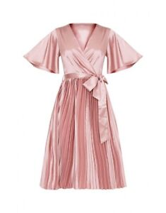 Moiree Dusty Pink Satin Pleated Dress