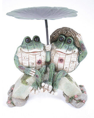 Lily Pad Frog Couple Bird Feeder/Tray Sculpture Garden Outdoor Patio Decor