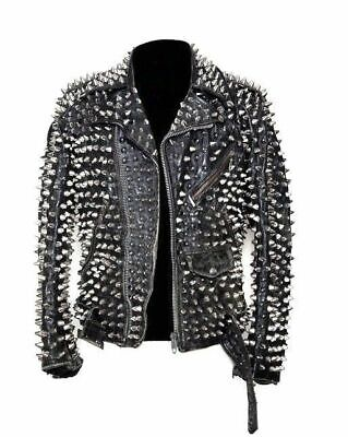 Handmade Mens Silver Studded Leather JACKET Biker Long Spike Brando Belted style