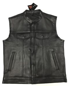 Men's Anarchy Style Motorcycle Cowhide Naked Leather Vest