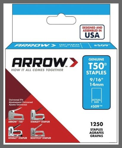"T50 Staples - 9/16"" (14mm) - Steel - 1250/Pack  Arrow Fastener 509"