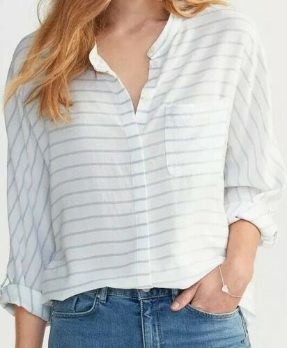 NEW WOMEN'S THE WHITE COMPANY RELAXED STRIPED  BUTTON UP SHIRT US 6 – VISCOSE Clothing, Shoes & Accessories