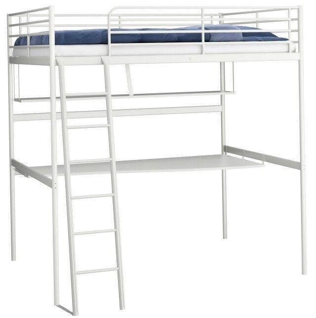Ikea White Loft Bed With Desk Shelf