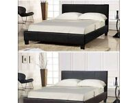 Leather bed frame and matress double