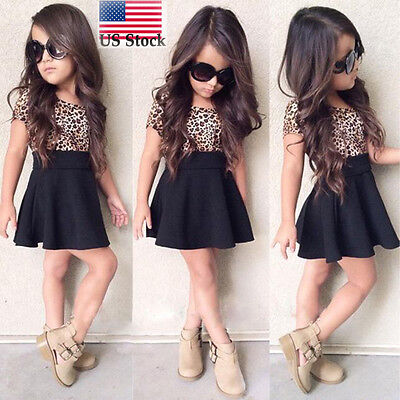 Girls Leopard (Kids Baby Girls Leopard Printing A-Line O-Neck Short Sleeveless Dress Clothes US )