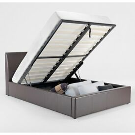 **BLACK OR BROWN** SAME DAY BRAND NEW DOUBLE / KING GAS LIFT LEATHER STORAGE BED WITH MATTRESS RANGE