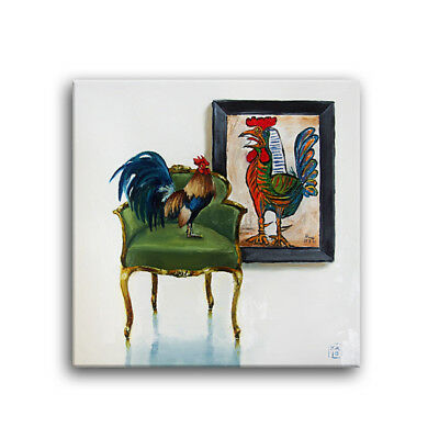 Daily Oil Painting  Rooster Selfie Kitchen Picasso  Green Chair Applegate