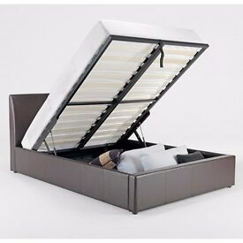 ◄70% Off Now► Double Leather Gas Lift Storage Ottoman Bed in Black/Brown With Variety Of Mattresses