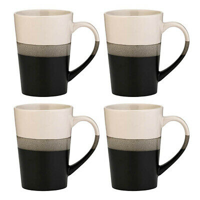 Amici Home Onyx Black & White Ceramic Coffee Mugs, Set of 4