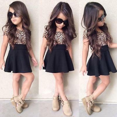 Kids Baby Girl Leopard Short Sleeve Dress A-Line O-Neck Party Dress Outfit - Leopard Girl