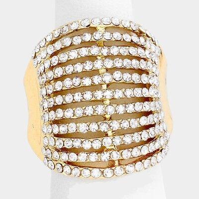 Cocktail Ring Multi Row Rhinestone Pave Crystals Wide Stretch Evening (Crystal Evening Cocktail Ring)