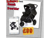 EXDISPLAY HAUCK FREERIDER TANDEM DOUBLE BUGGY PRAM PUSHCHAIR IN BLACK FROM BIRTH TO 3 & RAINCOVER