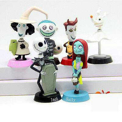 6pcs Set Nightmare Before Christmas Jack Sally Bobble Head Figure Doll Toy USA